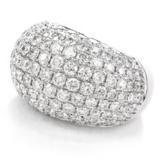 Estate Pave Diamond 18K Dome Cocktail Ring