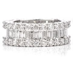 Estate Baguette and Round 4.39 Carat Diamond Eternity Ring
