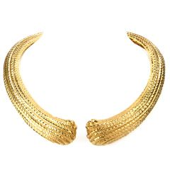 Estate 18K Shell Hinged Collar Necklace