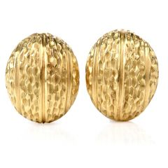 Estate 18K Shell Clip Earrings