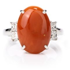 Estate Diamond and Red Natural Coral Platinum Cocktail Ring