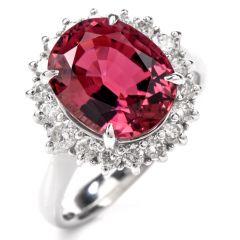 Stately Pink Tourmaline and DIamond Platinum Halo Ring