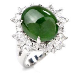 Statement Diamond and Jade Platinum Cocktail Ring