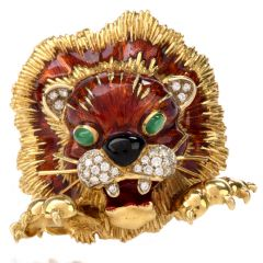 Martine Enameled Diamond Jade Lion Head Brooch