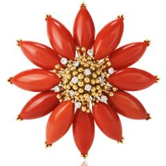 Vintage Diamond Coral 18K Poinsettia Brooch Pin