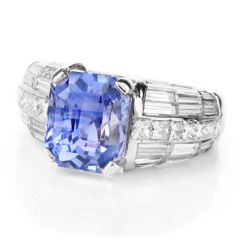 Meticulous Diamond GIA Certified Natural Violet Sapphire Platinum Engagement Cocktail Ring