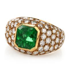 Vintage Tiffany and Co. Diamond GIA Emerald 18K Cocktail Ring