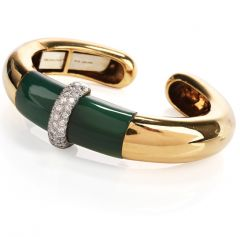 Tiffany and Co. Diamond Jade 18K Platinum Cuff  Bangle Bracelet
