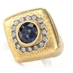 Buccellati DIamond Sapphire 18K Statement RIng