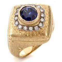 Vintage Buccellati Diamond Sapphire 18K Statement Ring