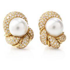 Henry Dunay Diamond South Sea Pearl 18K Clip On Earrings