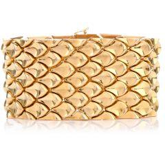 18K Yellow Gold Raindrop Wide Link Bracelet