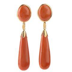 18K Natural Red Coral Teardrop Dangle Earrings