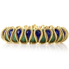 18K Italian Serpent Blue Green Enamelled Bracelet