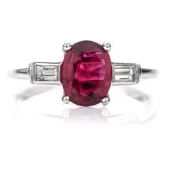 Natural GIA Ruby Diamond Platinum Engagement RIng