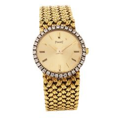Vintage Traditional Piaget Diamond Bezel Nugget Mesh 10K Ladies Watch