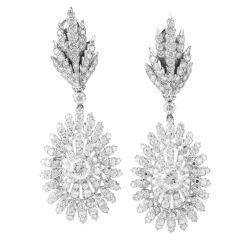 Divine Buccellati Diamond Peacock Motif Platinum Dangling Earrings