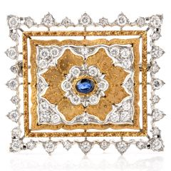 Opulent Buccellati Diamond Sapphire 18K Square Brooch