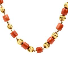 Vintage Red Coral 32 Inch 10K Strand Necklace