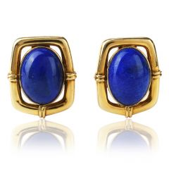 VIntage Ribbed Lapis Lazuli 14K Clip On Earrings