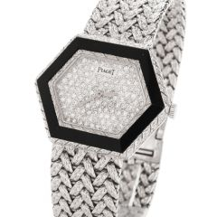 Rare Ladies Piaget Diamond and Onyx Ref. 95785 A6 Watch