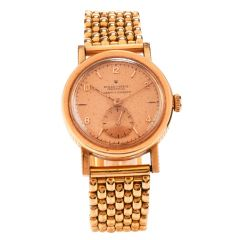 Antique 1940s 32mm Bubbleback 3131 Rolex Oyster Perpetual Cuervo Y Sobrinos 18K Rose Gold Watch