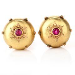 Puffed Satin Buccellati Ruby 18K Omega Earrings