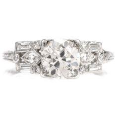 Antique Art Deco European Cut DIamond Platinum Engagement Ring