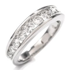 Estate Diamond Modern Channel Wedding Band Ring