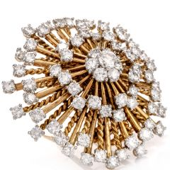 Vintage Cartier Paris Diamond Pinwheel 14K Brooch