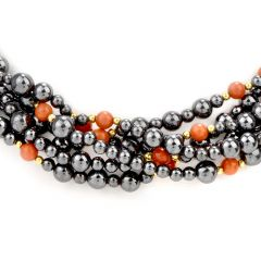 Vintage Coral Ruby Hematite 18K Beaded Necklace