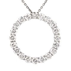 Estate Diamond Circle of Love Platinum/18K Pendant Necklace