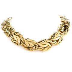 Estate German 18 Inch Byzantine 18K Gold Wide Chain Necklace