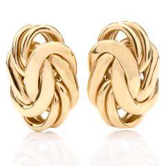 Estate German 18K Byzantine Omega Clip Earrings