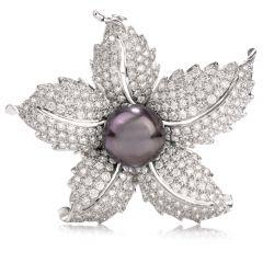 Estate Diamond Tahitian Pearl 18K White Gold Brooch Pin