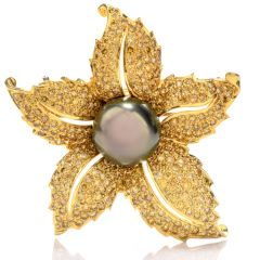 Estate Diamond Tahitian Pearl 18K Yellow Gold Brooch Pin