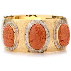 Vintage Coral Cameo Diamond 14K Wide Bangle Bracelet