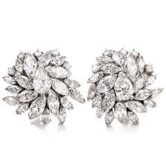 Vintage Marquise Diamond Floral Motif 14K Clip On Earrings