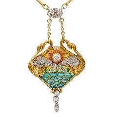 Vintage Diamond Swan Plique du Jour Enamel 18K Pendant Necklace