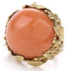 Vintage Coral Leaf 18K Cocktail Ring
