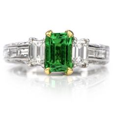 Rare Diamond No Heat, No Oil GIA Emerald 18K Engagement Ring