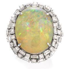 Vintage 18.81 Carat Opal Diamond 14K Cocktail Ring