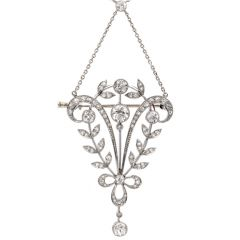 Antique Diamond Floral Platinum Necklace Brooch Pin