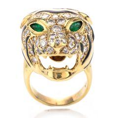 Vintage Panther Diamond Emerald 18K Cocktail Ring