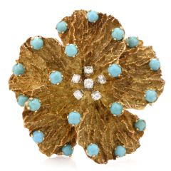 Vintage Pansy Diamond Turquoise 18K Brooch Pin