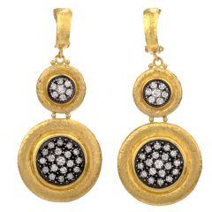 Designer Gurhan Diamond 24 Karat Dangle Omega Clip Earrings