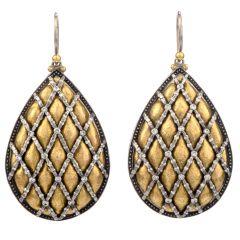 Gurhan 24K Gold Silver Diamond Dangle Drop Earrings