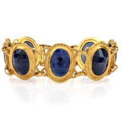 Gurhan Natural Blue Black Sapphire 24K Link Bracelet