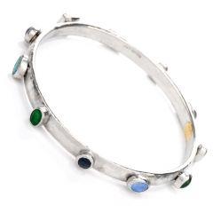 Gurhan Emerald Sapphire Opal Platinum Bangle Bracelet
