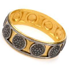 Vintage Durhan Black Diamond 24K/Silver Wide Bangle Bracelet